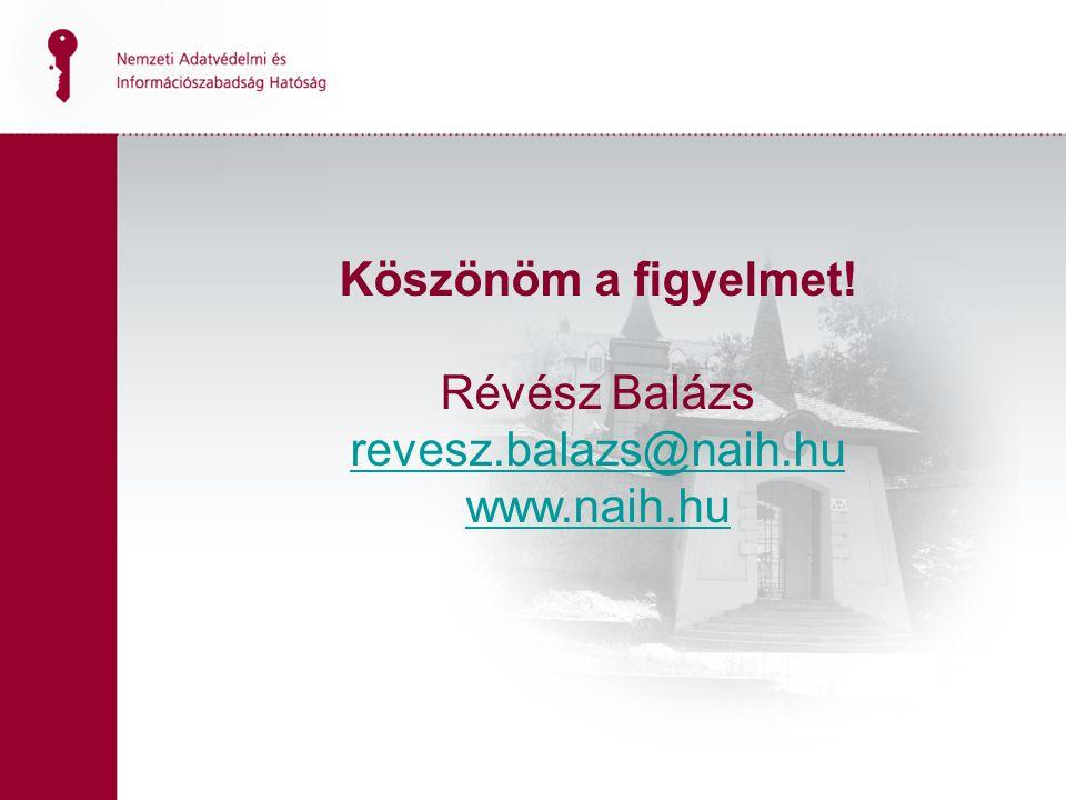 Köszönöm a figyelmet! Révész Balázs revesz.balazs@naih.hu www.naih.hu