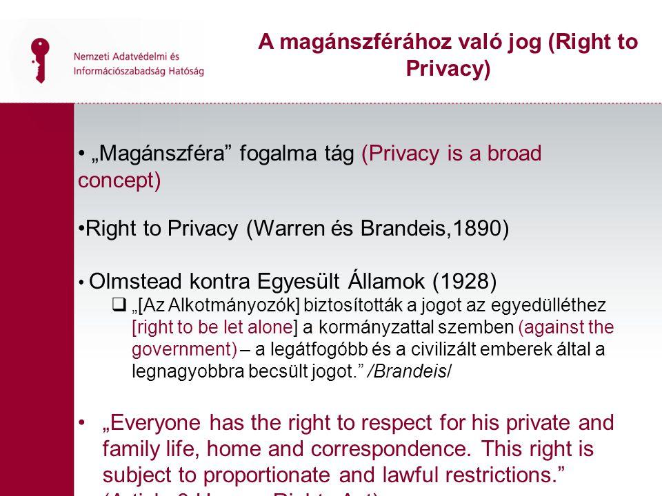 """""""Magánszféra"""" fogalma tág (Privacy is a broad concept) Right to Privacy (Warren és Brandeis,1890) Olmstead kontra Egyesült Államok (1928)  """"[Az Alkot"""