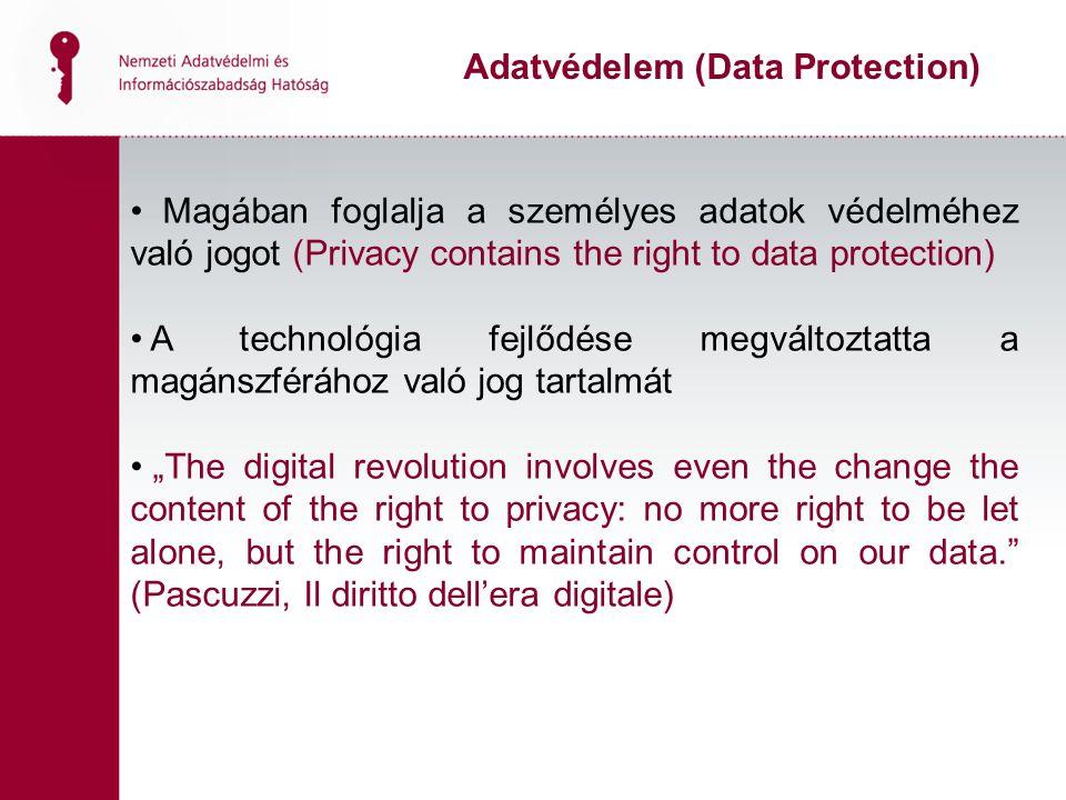 Magában foglalja a személyes adatok védelméhez való jogot (Privacy contains the right to data protection) A technológia fejlődése megváltoztatta a mag