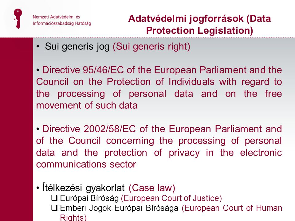 Sui generis jog (Sui generis right) Directive 95/46/EC of the European Parliament and the Council on the Protection of Individuals with regard to the