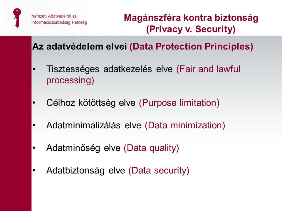 Az adatvédelem elvei (Data Protection Principles) Tisztességes adatkezelés elve (Fair and lawful processing) Célhoz kötöttség elve (Purpose limitation