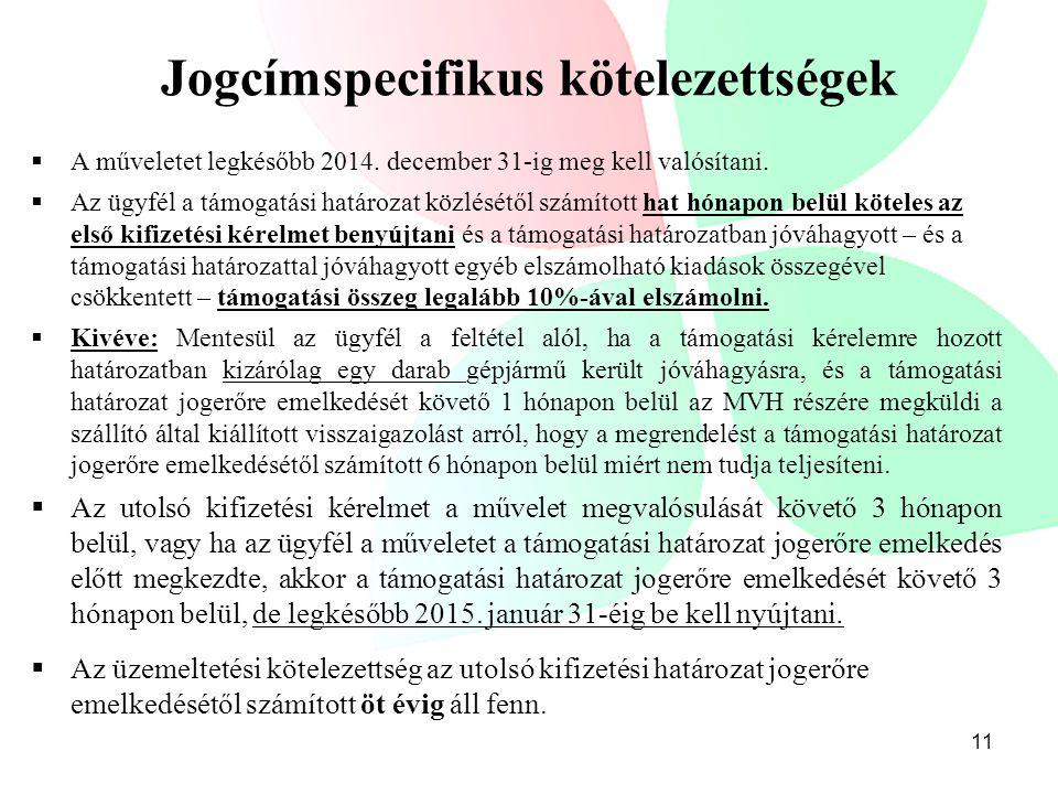 Jogcímspecifikus kötelezettségek  A műveletet legkésőbb 2014. december 31-ig meg kell valósítani.  Az ügyfél a támogatási határozat közlésétől számí