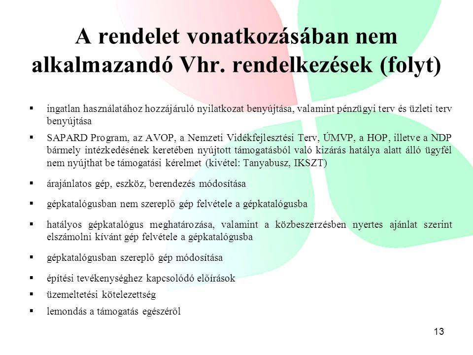 A rendelet vonatkozásában nem alkalmazandó Vhr. rendelkezések (folyt)  ingatlan használatához hozzájáruló nyilatkozat benyújtása, valamint pénzügyi t