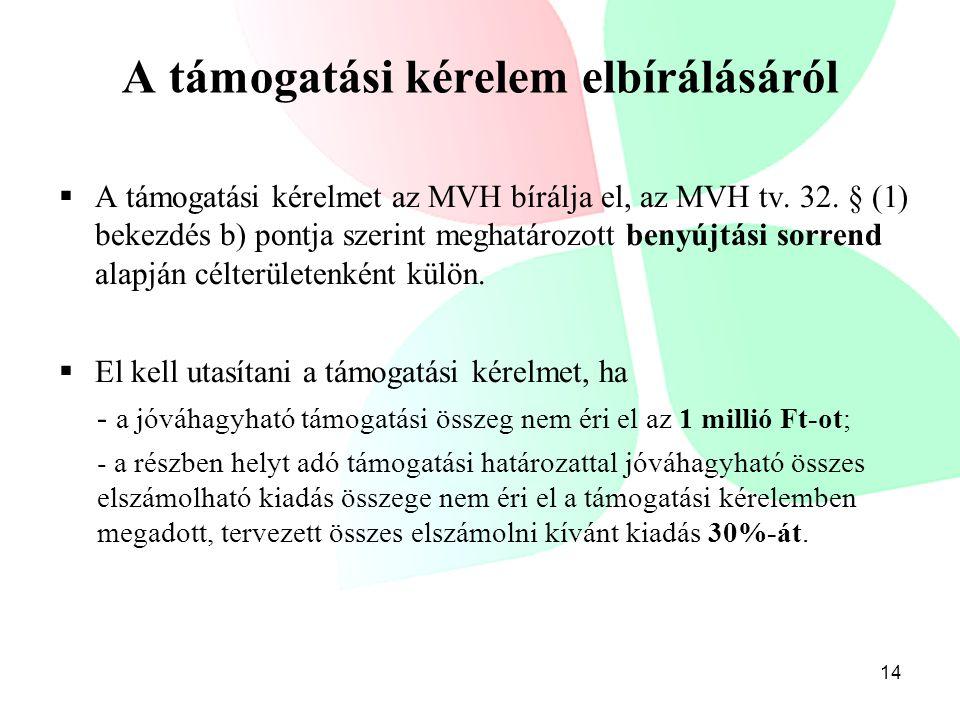  A támogatási kérelmet az MVH bírálja el, az MVH tv. 32. § (1) bekezdés b) pontja szerint meghatározott benyújtási sorrend alapján célterületenként k