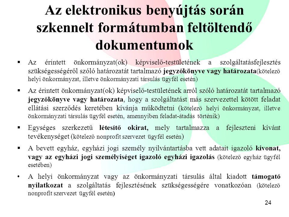 Az elektronikus benyújtás során szkennelt formátumban feltöltendő dokumentumok  Az érintett önkormányzat(ok) képviselő-testületének a szolgáltatásfej