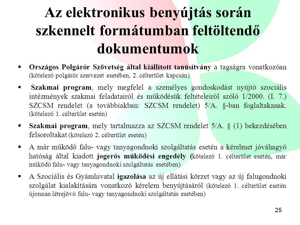 Az elektronikus benyújtás során szkennelt formátumban feltöltendő dokumentumok  Országos Polgárőr Szövetség által kiállított tanúsítvány a tagságra v