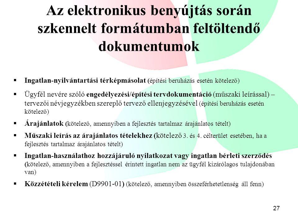 Az elektronikus benyújtás során szkennelt formátumban feltöltendő dokumentumok  Ingatlan-nyilvántartási térképmásolat (építési beruházás esetén kötel
