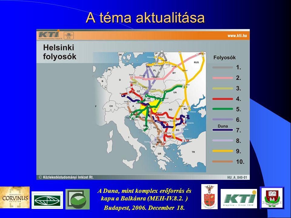 A Duna, mint komplex erőforrás és kapu a Balkánra (MEH-IV.8.2. ) Budapest, 2006. December 18. Témavezető: Prof. Cser László (Corvinus Egyetem) A kutat