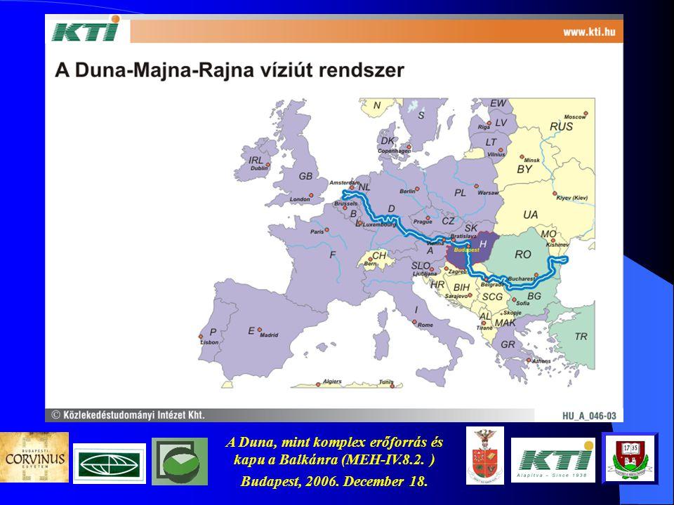A Duna, mint komplex erőforrás és kapu a Balkánra (MEH-IV.8.2. ) Budapest, 2006. December 18. A téma aktualitása
