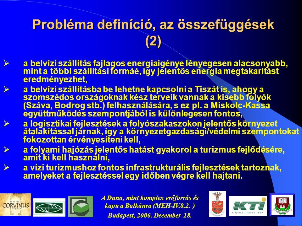 A Duna, mint komplex erőforrás és kapu a Balkánra (MEH-IV.8.2. ) Budapest, 2006. December 18. Probléma definíció, az összefüggések (1)  Magyarországo