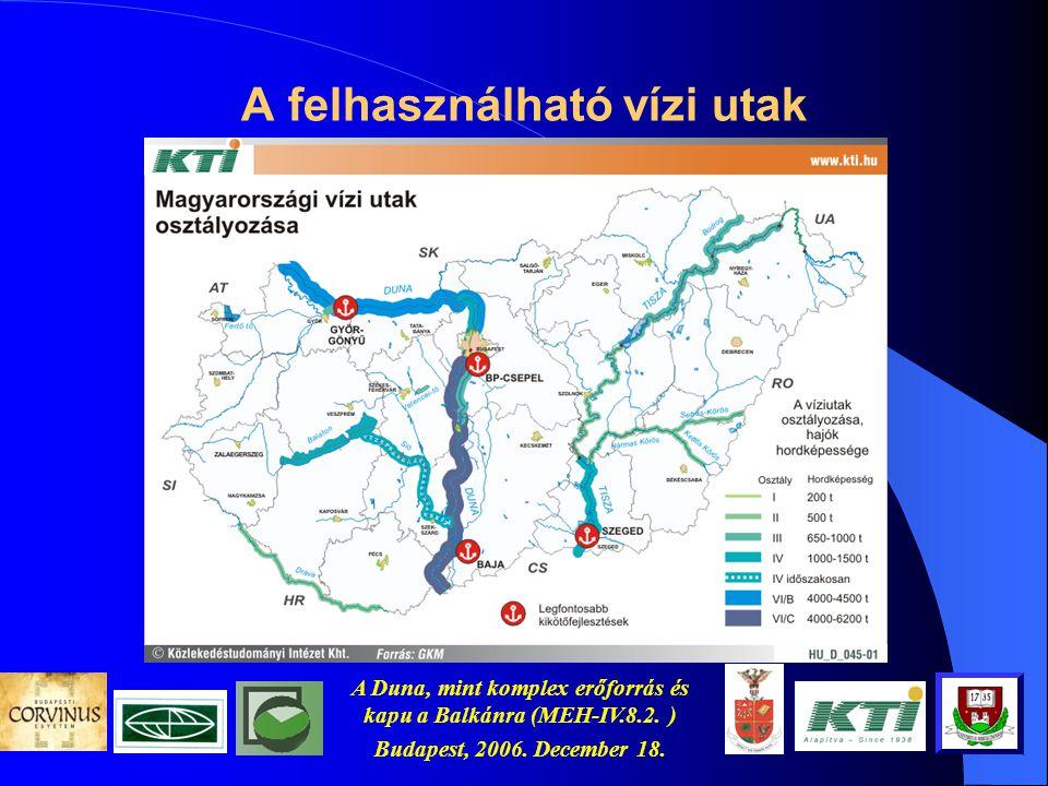 A Duna, mint komplex erőforrás és kapu a Balkánra (MEH-IV.8.2. ) Budapest, 2006. December 18. A logisztika és a környezetszennyezés
