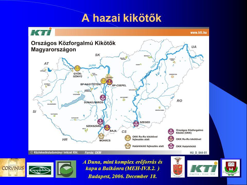 A Duna, mint komplex erőforrás és kapu a Balkánra (MEH-IV.8.2. ) Budapest, 2006. December 18. Szállítási idők Segerer, 1999 Útirány Pl. 39 – az adott