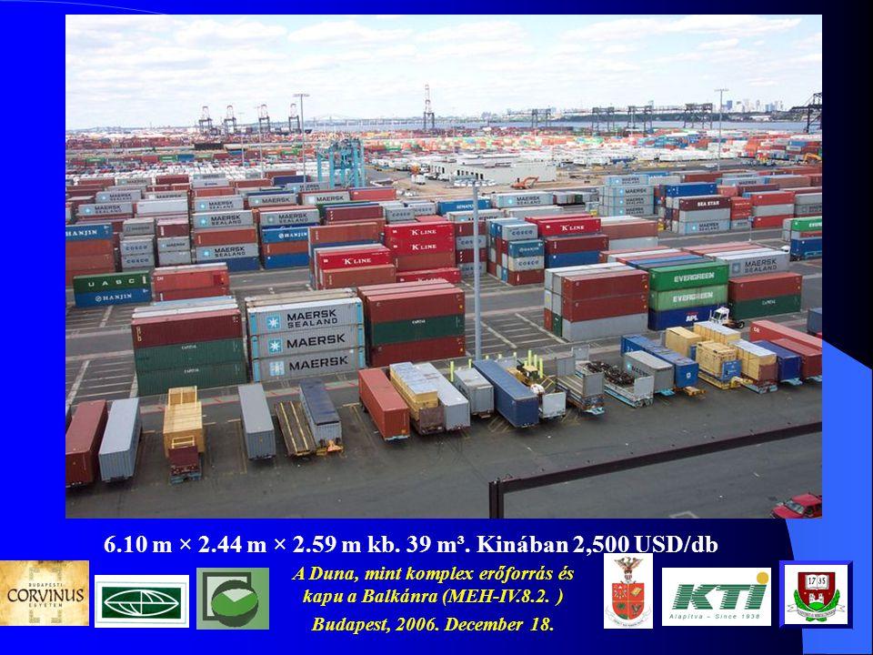 A Duna, mint komplex erőforrás és kapu a Balkánra (MEH-IV.8.2. ) Budapest, 2006. December 18. A nagy kihívás (1) és a kikötők A kínai külkereskedelem