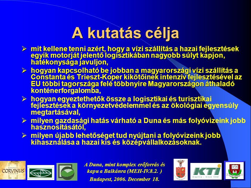 A Duna, mint komplex erőforrás és kapu a Balkánra (MEH-IV.8.2. ) Budapest, 2006. December 18. Az érintett körzetek Atlanti körzet Baltikum Belső gerin