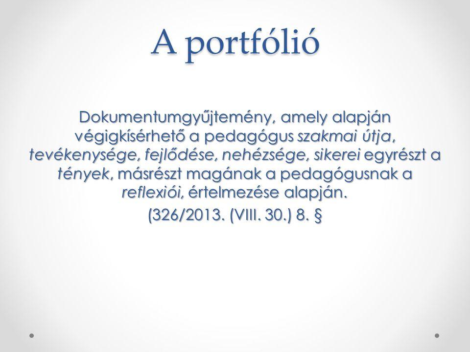 A portfólió Dokumentumgyűjtemény, amely alapján végigkísérhető a pedagógus szakmai útja, tevékenysége, fejlődése, nehézsége, sikerei egyrészt a tények