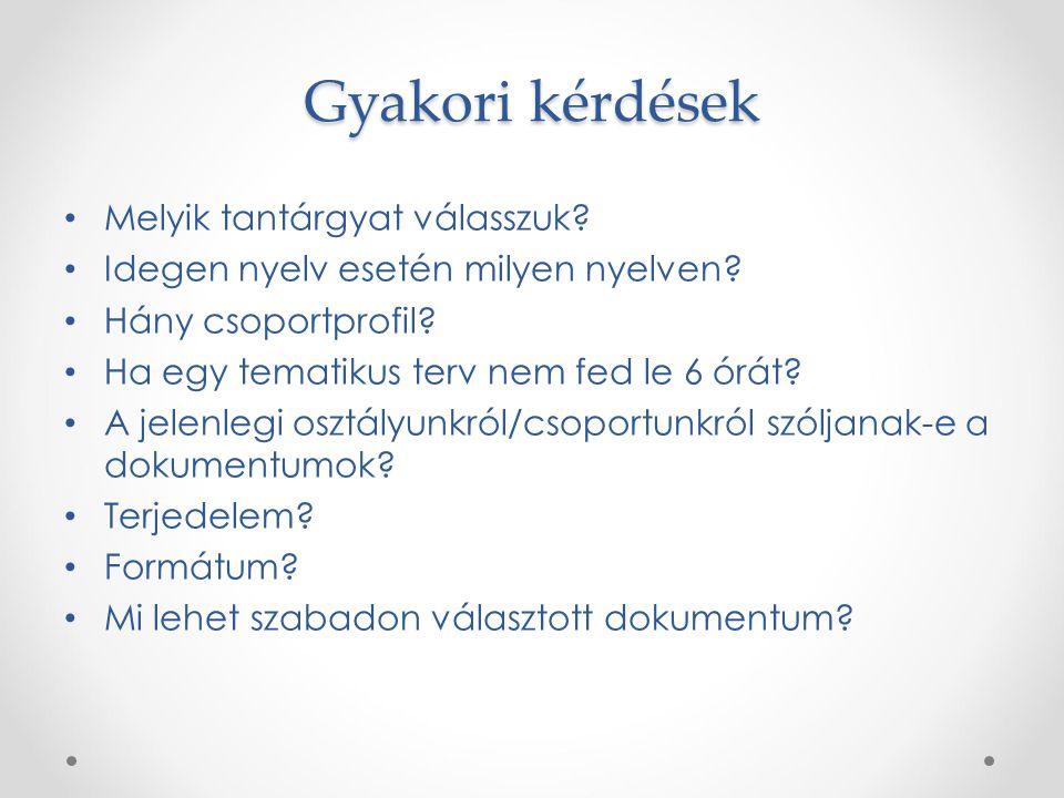 Gyakori kérdések Melyik tantárgyat válasszuk? Idegen nyelv esetén milyen nyelven? Hány csoportprofil? Ha egy tematikus terv nem fed le 6 órát? A jelen