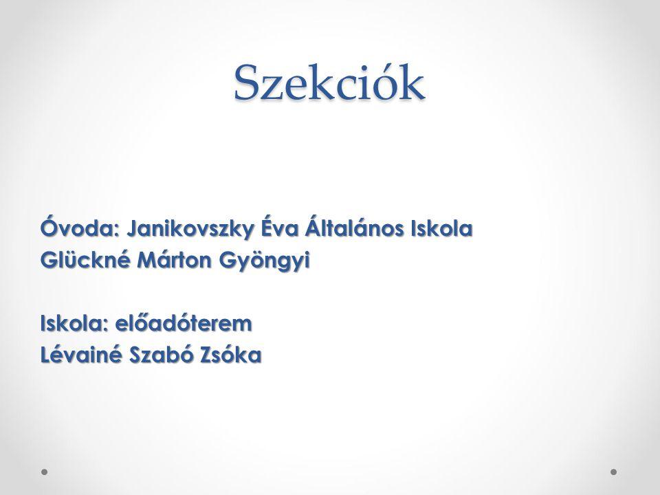 Szekciók Óvoda: Janikovszky Éva Általános Iskola Glückné Márton Gyöngyi Iskola: előadóterem Lévainé Szabó Zsóka