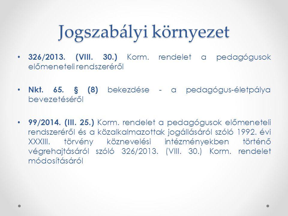 Jogszabályi környezet 326/2013. (VIII. 30.) Korm. rendelet a pedagógusok előmeneteli rendszeréről Nkt. 65. § (8) bekezdése - a pedagógus-életpálya bev