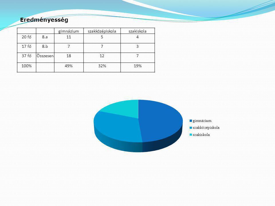 gimnáziumszakközépiskolaszakiskola 20 fő8.a1154 17 fő8.b773 37 főÖsszesen18127 100% 49%32%19% Eredményesség