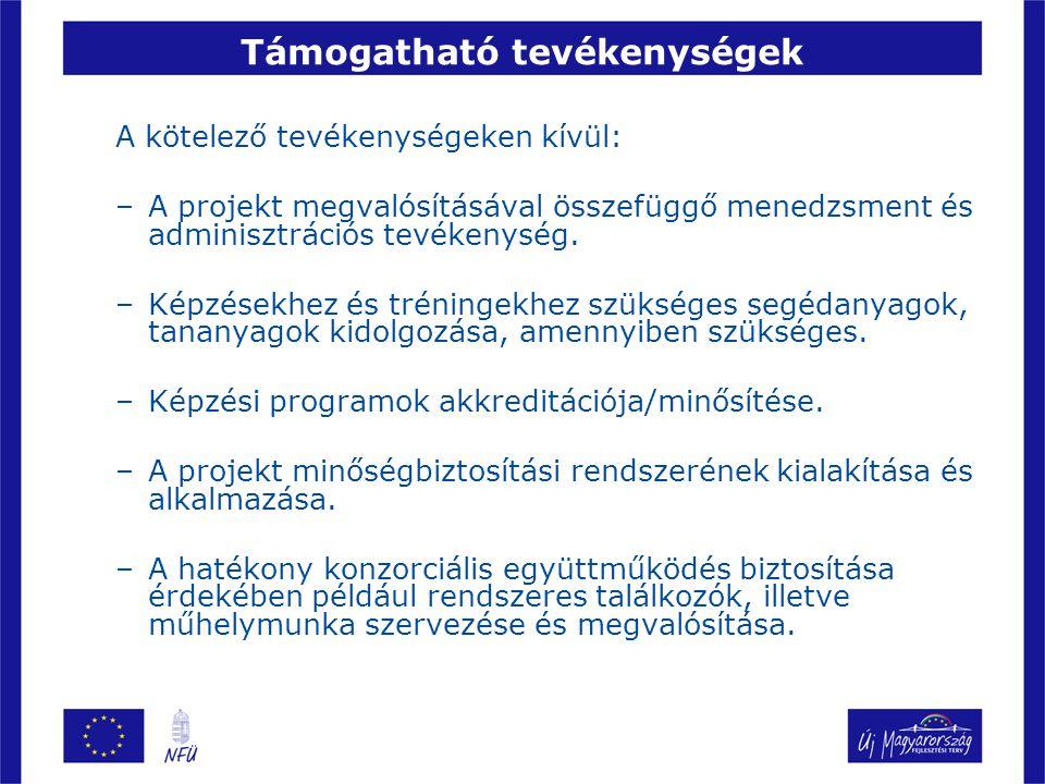 Támogatható tevékenységek A kötelező tevékenységeken kívül: –A projekt megvalósításával összefüggő menedzsment és adminisztrációs tevékenység.