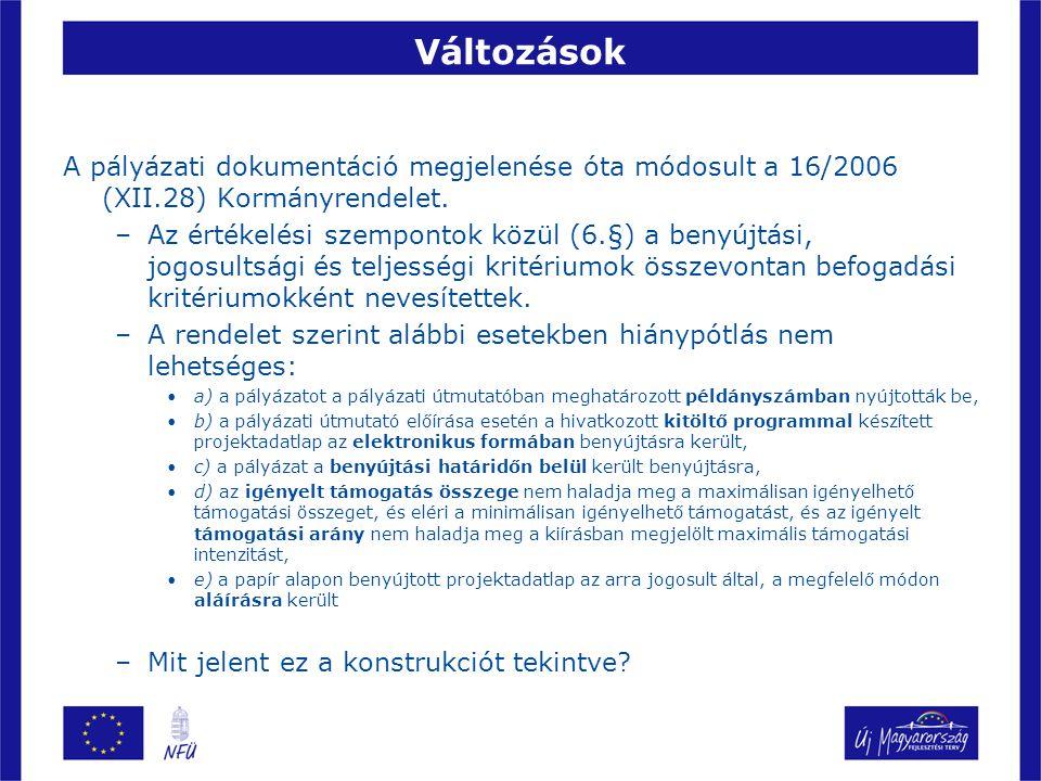 Változások A pályázati dokumentáció megjelenése óta módosult a 16/2006 (XII.28) Kormányrendelet.
