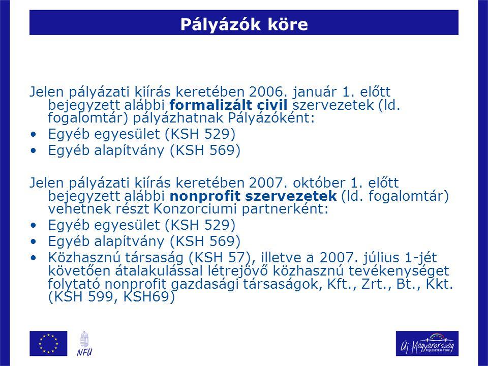 Pályázók köre Jelen pályázati kiírás keretében 2006.