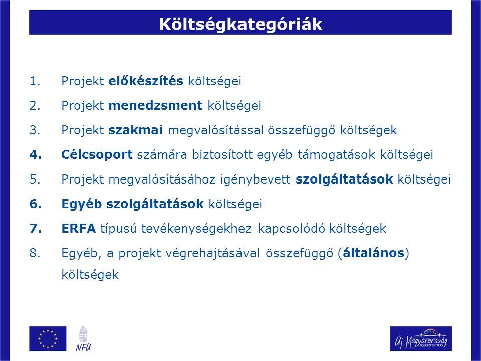 Költségkategóriák 1.Projekt előkészítés költségei 2.Projekt menedzsment költségei 3.Projekt szakmai megvalósítással összefüggő költségek 4.Célcsoport számára biztosított egyéb támogatások költségei 5.Projekt megvalósításához igénybevett szolgáltatások költségei 6.Egyéb szolgáltatások költségei 7.ERFA típusú tevékenységekhez kapcsolódó költségek 8.Egyéb, a projekt végrehajtásával összefüggő (általános) költségek
