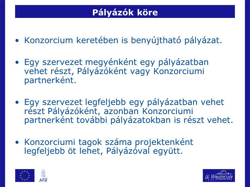 Pályázók köre Konzorcium keretében is benyújtható pályázat.