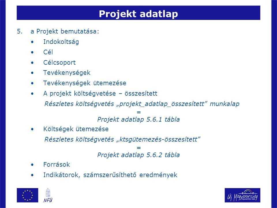 """Projekt adatlap 5.a Projekt bemutatása: Indokoltság Cél Célcsoport Tevékenységek Tevékenységek ütemezése A projekt költségvetése – összesített Részletes költségvetés """"projekt_adatlap_összesített munkalap = Projekt adatlap 5.6.1 tábla Költségek ütemezése Részletes költségvetés """"ktsgütemezés-összesített = Projekt adatlap 5.6.2 tábla Források Indikátorok, számszerűsíthető eredmények"""