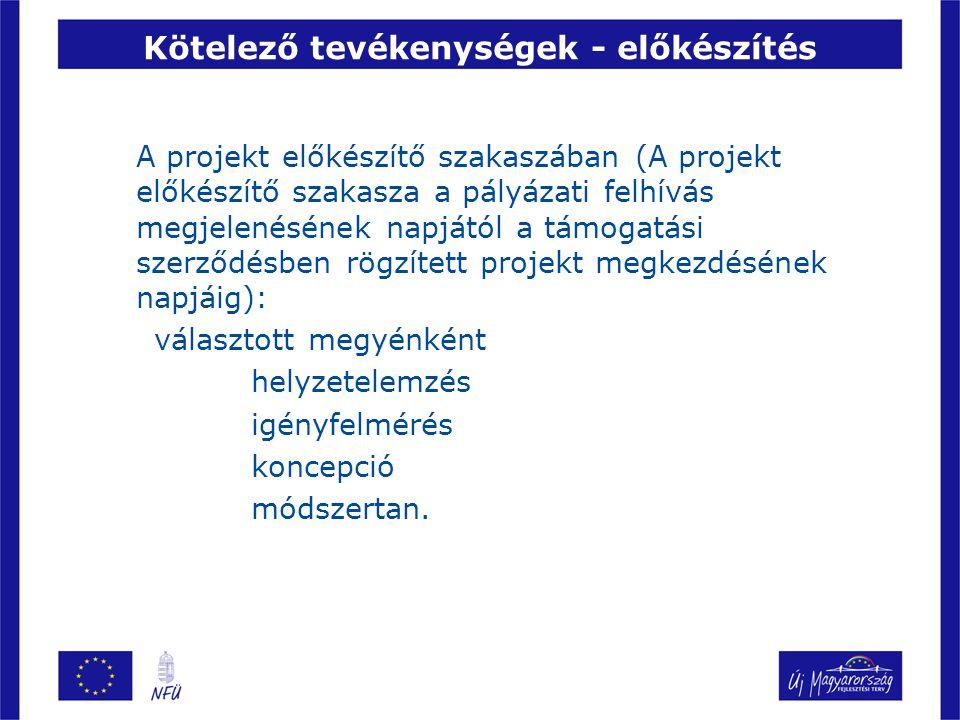 Kötelező tevékenységek - előkészítés A projekt előkészítő szakaszában (A projekt előkészítő szakasza a pályázati felhívás megjelenésének napjától a támogatási szerződésben rögzített projekt megkezdésének napjáig): választott megyénként helyzetelemzés igényfelmérés koncepció módszertan.