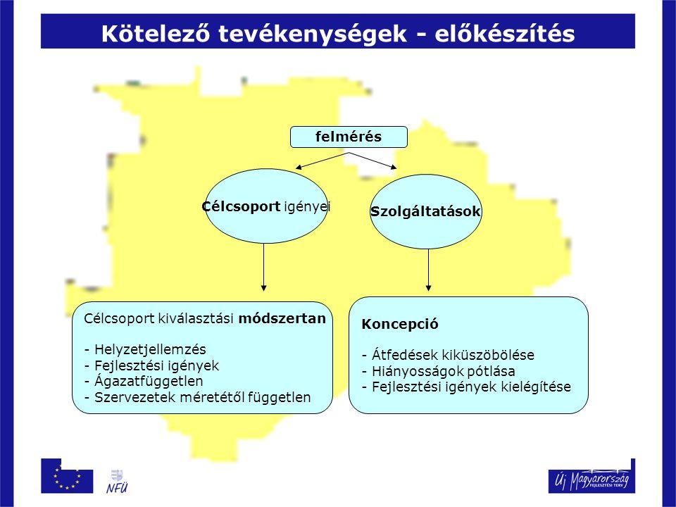 Kötelező tevékenységek - előkészítés Célcsoport kiválasztási módszertan - Helyzetjellemzés - Fejlesztési igények - Ágazatfüggetlen - Szervezetek méretétől független Koncepció - Átfedések kiküszöbölése - Hiányosságok pótlása - Fejlesztési igények kielégítése Célcsoport igényei felmérés Szolgáltatások