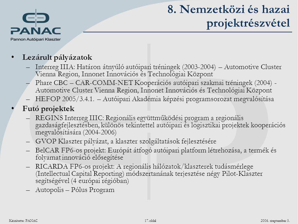 Készítette: PANAC 17.oldal 2006. szeptember 5. 8. Nemzetközi és hazai projektrészvétel Lezárult pályázatok –Interreg IIIA: Határon átnyúló autóipari t