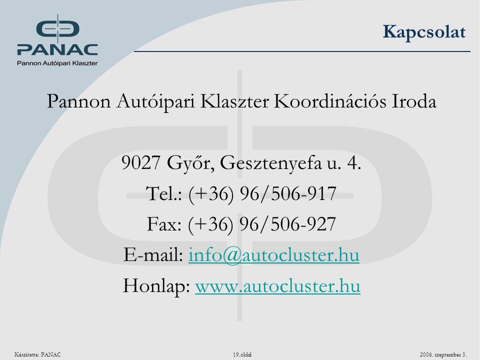 Készítette: PANAC 19.oldal 2006. szeptember 5. Kapcsolat Pannon Autóipari Klaszter Koordinációs Iroda 9027 Győr, Gesztenyefa u. 4. Tel.: (+36) 96/506-