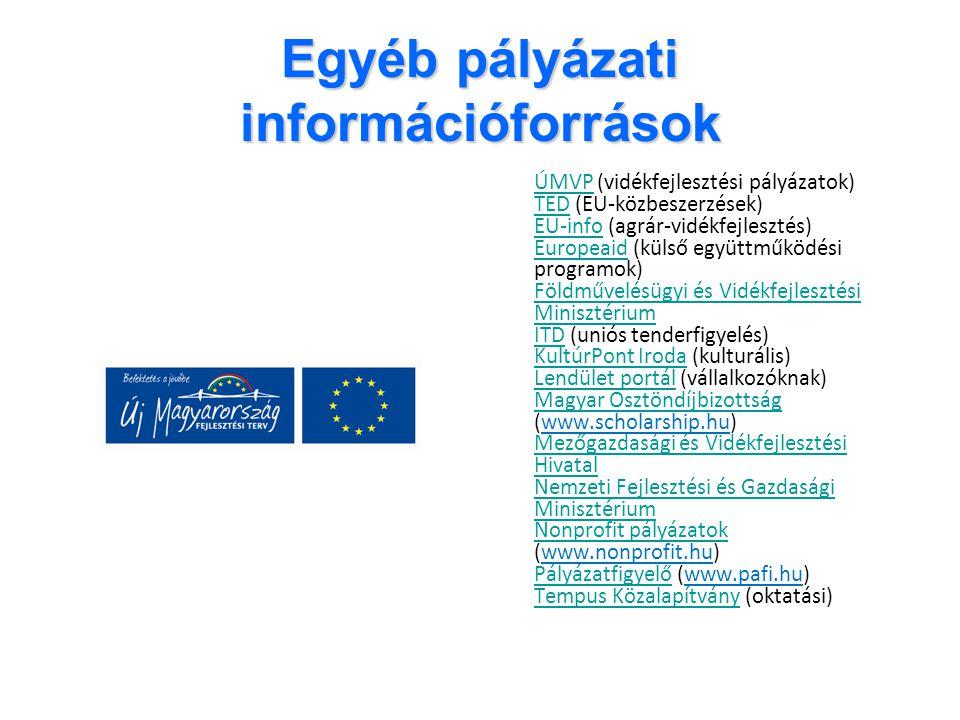 Egyéb pályázati információforrások ÚMVPÚMVP (vidékfejlesztési pályázatok) TED (EU-közbeszerzések) EU-info (agrár-vidékfejlesztés) Europeaid (külső egy