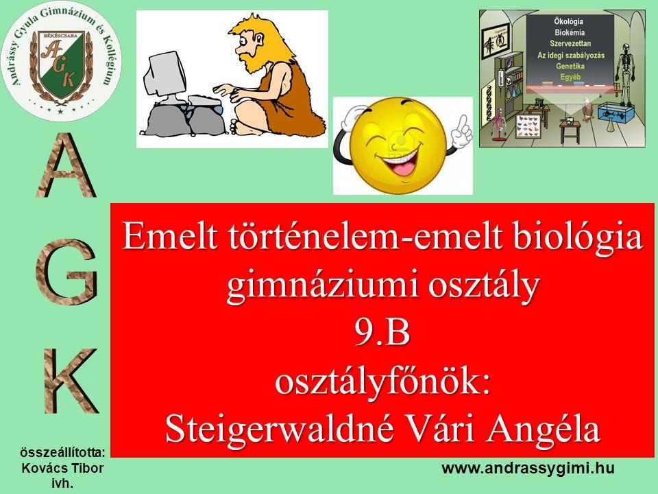 összeállította: Kovács Tibor ivh. www.andrassygimi.hu Emelt történelem-emelt biológia gimnáziumi osztály 9.B osztályfőnök: Steigerwaldné Vári Angéla