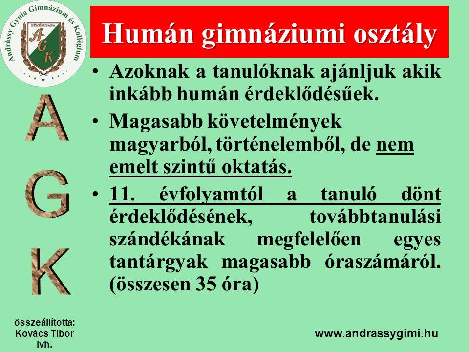 összeállította: Kovács Tibor ivh. www.andrassygimi.hu Azoknak a tanulóknak ajánljuk akik inkább humán érdeklődésűek. Magasabb követelmények magyarból,