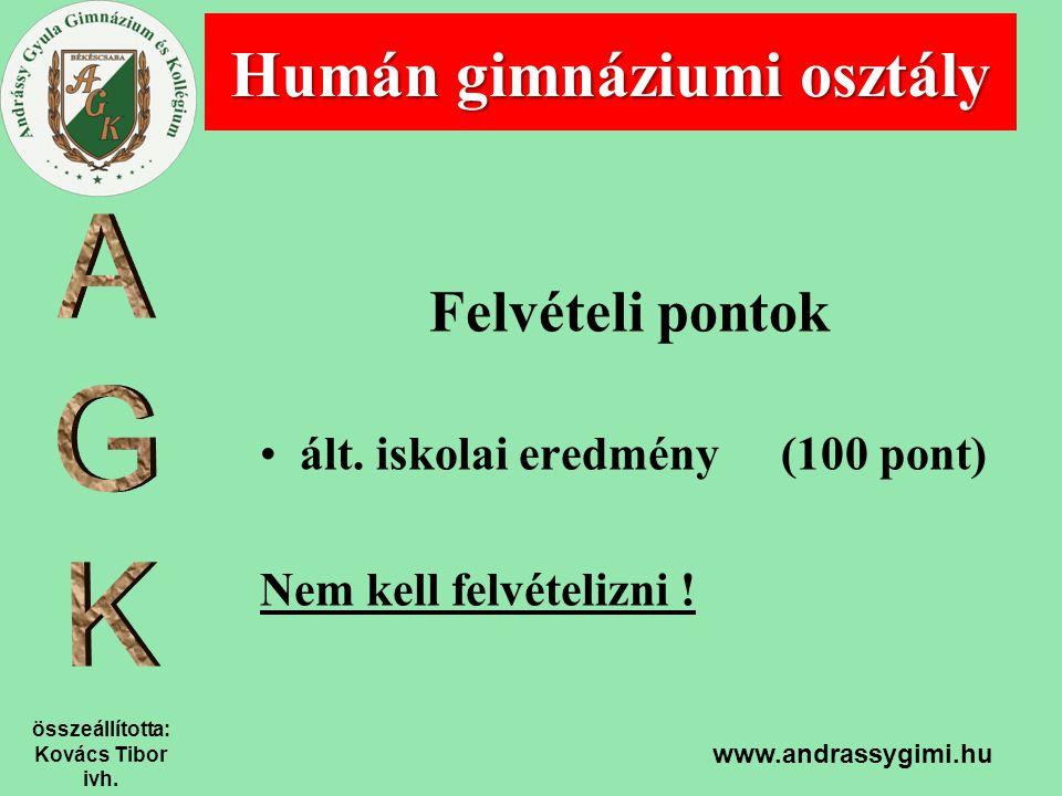 összeállította: Kovács Tibor ivh. www.andrassygimi.hu Felvételi pontok ált. iskolai eredmény (100 pont) Nem kell felvételizni ! Humán gimnáziumi osztá