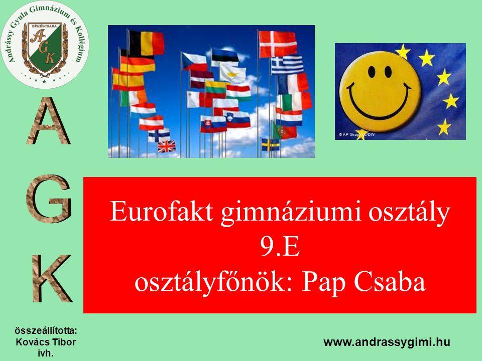 összeállította: Kovács Tibor ivh. www.andrassygimi.hu Eurofakt gimnáziumi osztály 9.E osztályfőnök: Pap Csaba
