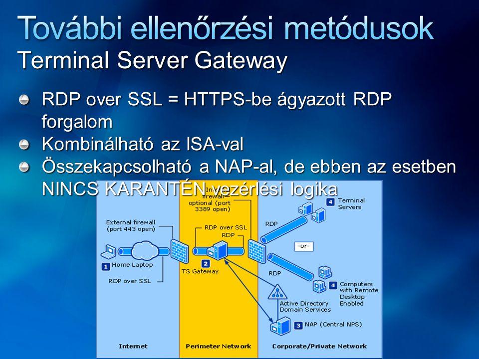 Terminal Server Gateway RDP over SSL = HTTPS-be ágyazott RDP forgalom Kombinálható az ISA-val Összekapcsolható a NAP-al, de ebben az esetben NINCS KARANTÉN vezérlési logika
