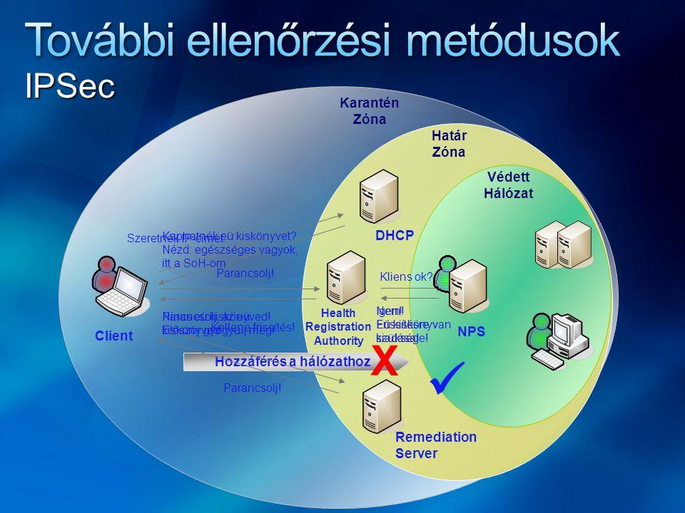 Hozzáférés a hálózathoz X DHCP Remediation Server NPS Szeretnék IP-címet.
