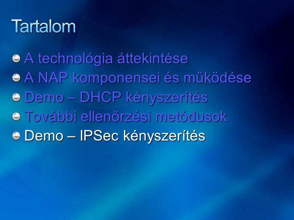 A technológia áttekintése A NAP komponensei és működése Demo – DHCP kényszerítés További ellenőrzési metódusok Demo – IPSec kényszerítés