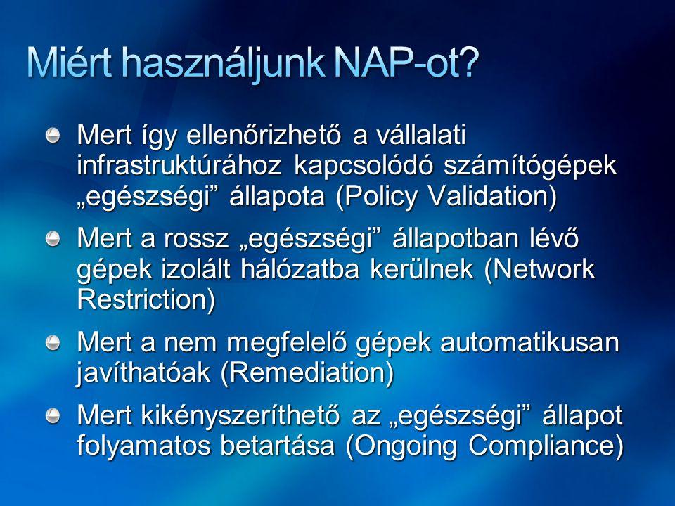 NAP agent Támogatott OS verziók Windows XP (SP3) Windows Vista Windows Server 2008