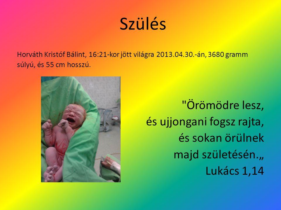 Szülés Horváth Kristóf Bálint, 16:21-kor jött világra 2013.04.30.-án, 3680 gramm súlyú, és 55 cm hosszú.