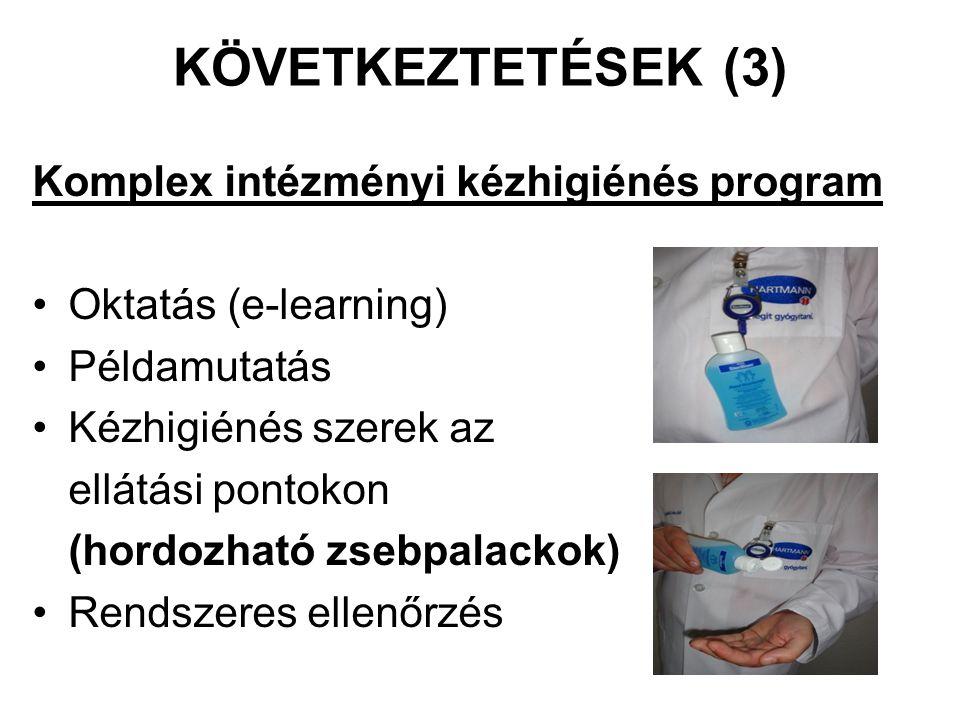 KÖVETKEZTETÉSEK (3) Komplex intézményi kézhigiénés program Oktatás (e-learning) Példamutatás Kézhigiénés szerek az ellátási pontokon (hordozható zsebp