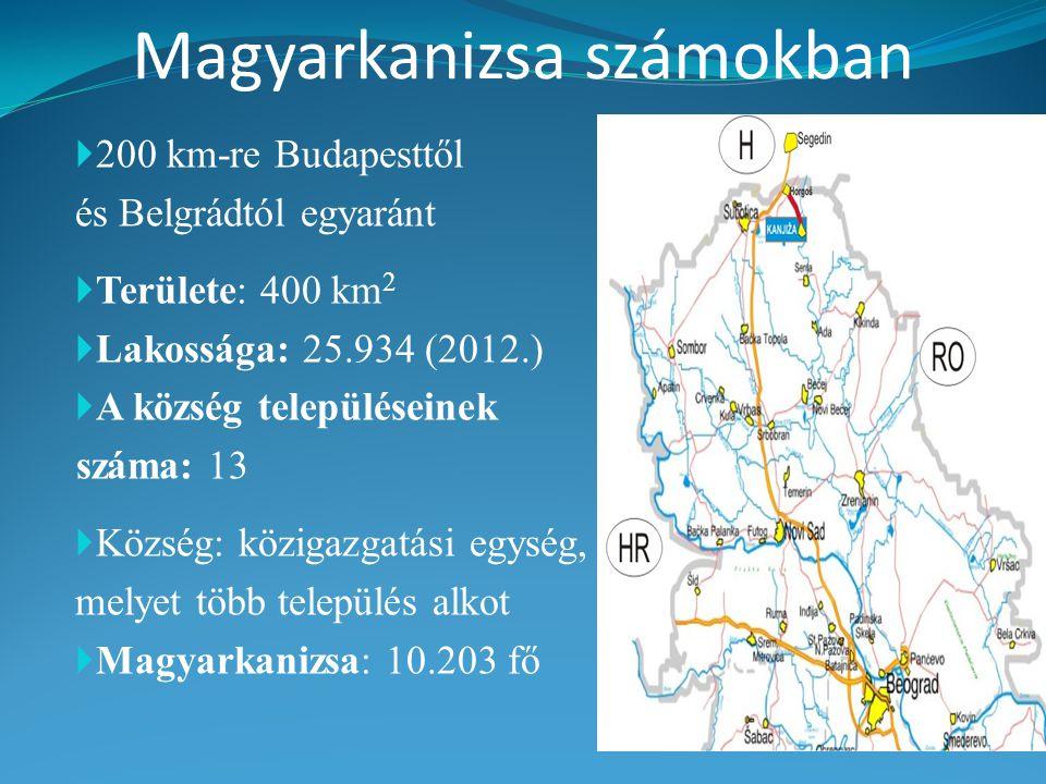 Magyarkanizsa számokban  200 km-re Budapesttől és Belgrádtól egyaránt  Területe: 400 km 2  Lakossága: 25.934 (2012.)  A község településeinek száma: 13  Község: közigazgatási egység, melyet több település alkot  Magyarkanizsa: 10.203 fő