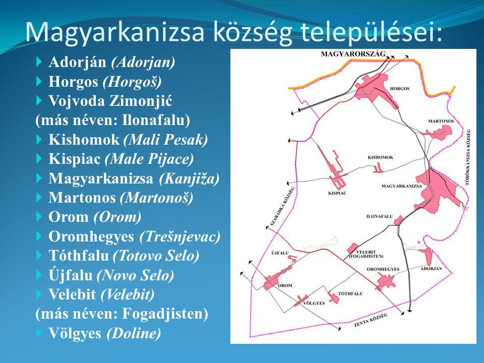 Magyarkanizsa község települései:  Adorján (Adorjan)  Horgos (Horgoš)  Vojvoda Zimonjić (más néven: Ilonafalu)  Kishomok (Mali Pesak)  Kispiac (Male Pijace)  Magyarkanizsa (Kanjiža)  Martonos (Martonoš)  Orom (Orom)  Oromhegyes (Trešnjevac)  Tóthfalu (Totovo Selo)  Újfalu (Novo Selo)  Velebit (Velebit) (más néven: Fogadjisten)  Völgyes (Doline)