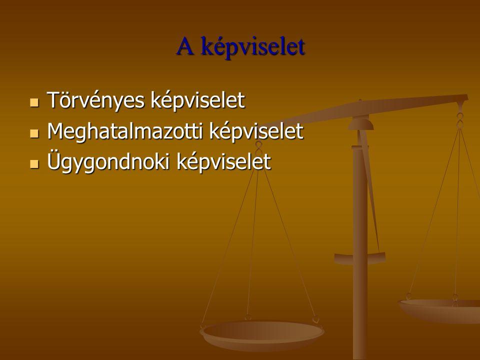 A képviselet Törvényes képviselet Törvényes képviselet Meghatalmazotti képviselet Meghatalmazotti képviselet Ügygondnoki képviselet Ügygondnoki képvis