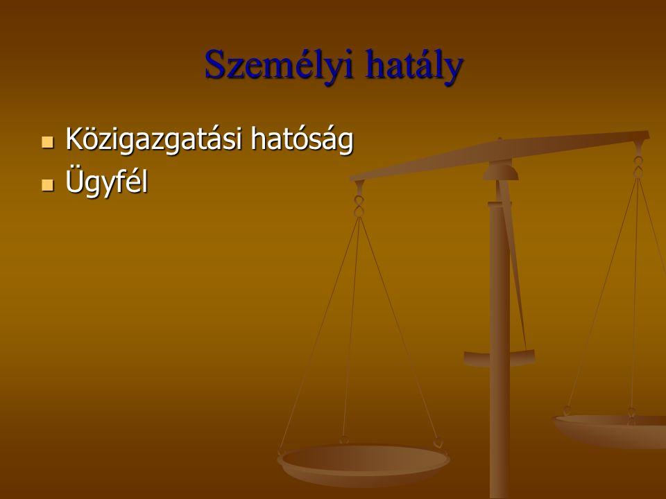 Személyi hatály Közigazgatási hatóság Közigazgatási hatóság Ügyfél Ügyfél