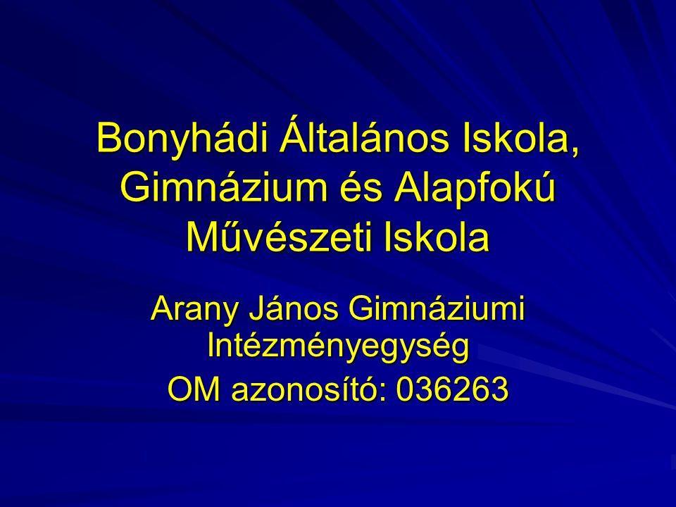 Bonyhádi Általános Iskola, Gimnázium és Alapfokú Művészeti Iskola Arany János Gimnáziumi Intézményegység OM azonosító: 036263