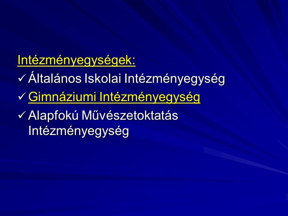 Intézményegységek: Általános Iskolai Intézményegység Általános Iskolai Intézményegység Gimnáziumi Intézményegység Gimnáziumi Intézményegység Alapfokú